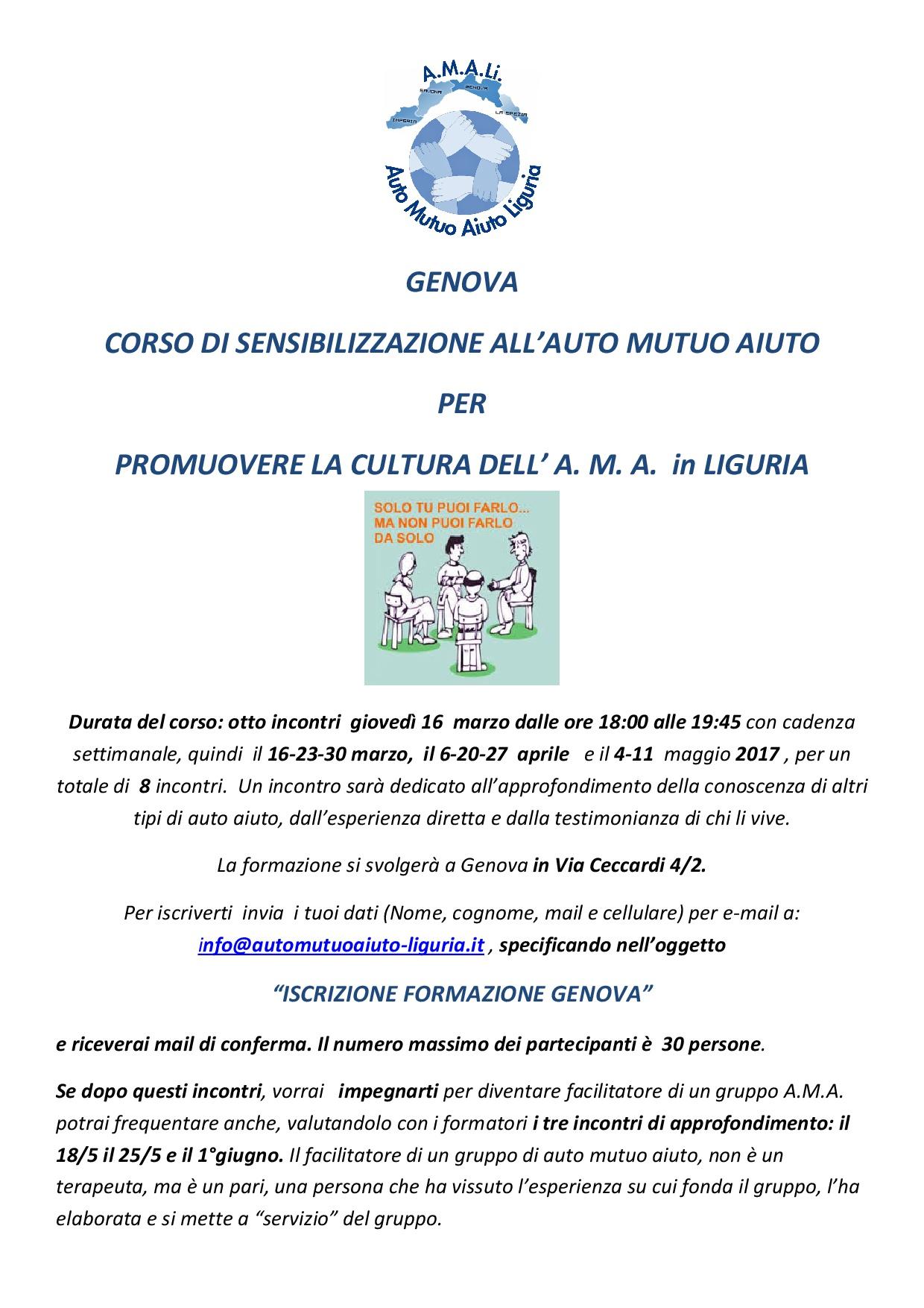 Invito formazione Genova facebook